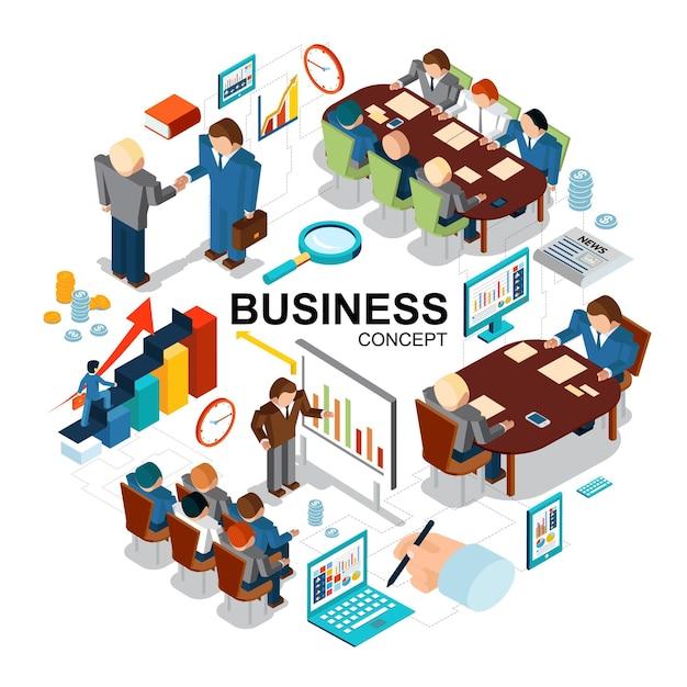 Conceito de negócio isométrico com gráficos de lupa moedas de relógio tablet computador laptop apresentação de negócios negociações conferência reunião ilustração Vetor grátis