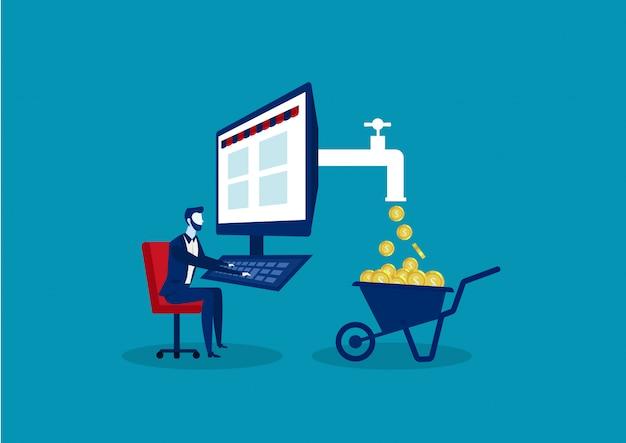 Conceito de negócio para fazer lucro usando a internet como freelancer, marketing empresário ou comércio eletrônico sentado em linha reta na cadeira de trabalho no computador Vetor Premium