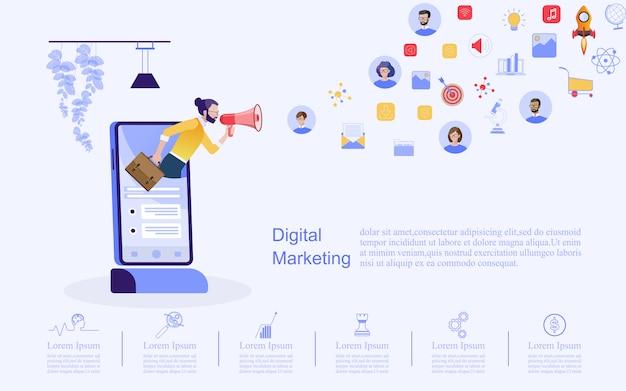 Conceito de negócio para marketing digital. Vetor Premium