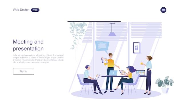 Conceito de negócio para trabalho em equipe Vetor Premium
