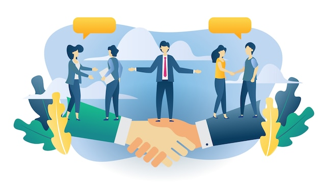 Conceito de negócio trabalho em equipe ilustração plana Vetor Premium