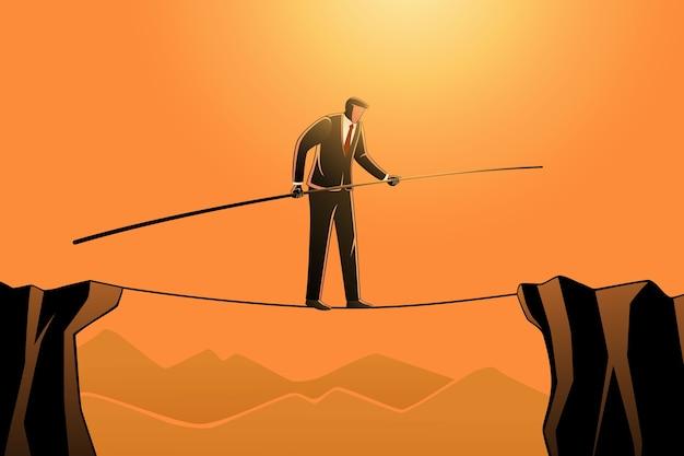Conceito de negócio, um empresário andando na corda enquanto segura um poste Vetor Premium