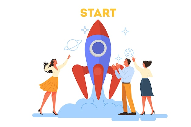 Conceito de negócios. as pessoas trabalham juntas em equipe. lançamento de foguete como uma metáfora de inicialização. desenvolvimento de negócios. ilustração ilustração Vetor Premium