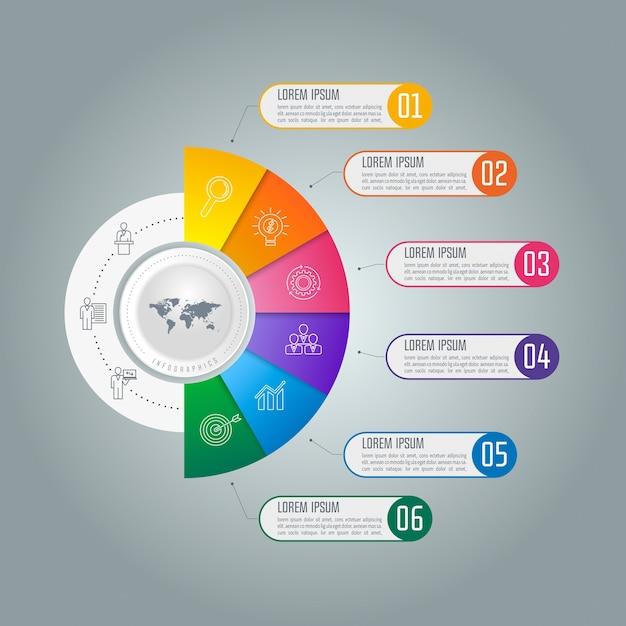 Conceito de negócios infográficos da linha do tempo com 6 ...