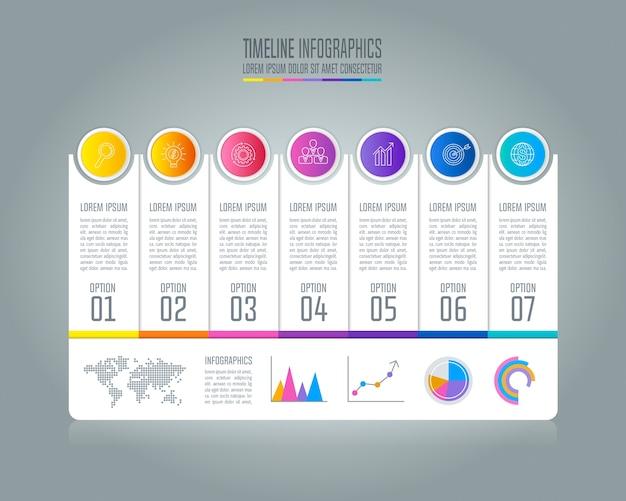 Conceito de negócios infográficos da linha do tempo com 7 ...