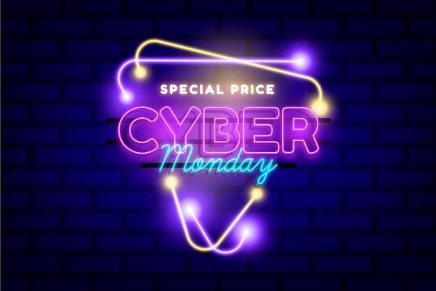 Conceito de néon cyber segunda-feira Vetor grátis