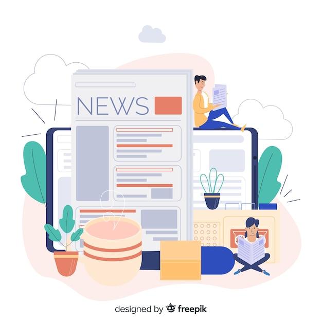 Conceito de notícias para a página de destino Vetor grátis