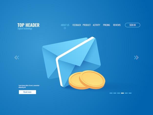 Conceito de notificação de pagamento, envelop com dinheiro de moeda de ouro, e-mail Vetor grátis