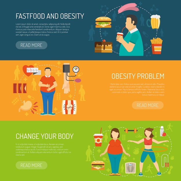 Conceito de obesidade de banners Vetor grátis