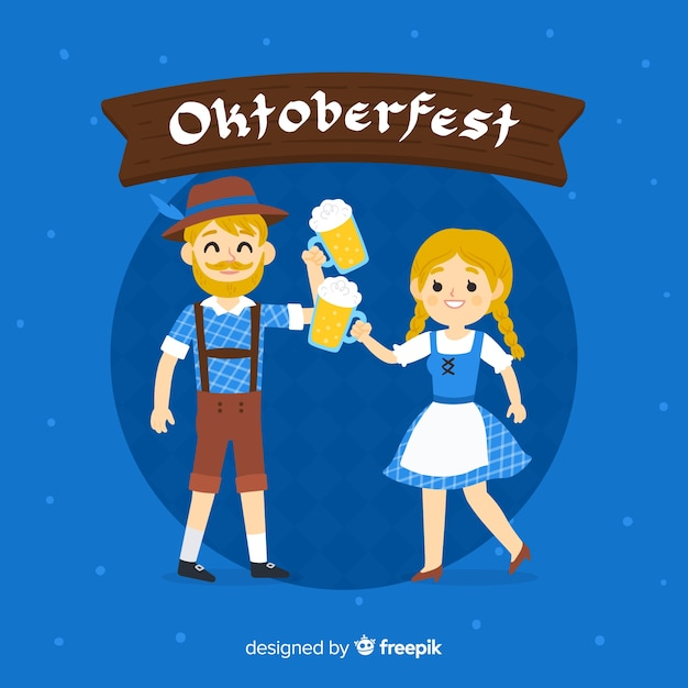 Conceito de oktoberfest com fundo de mão desenhada Vetor grátis