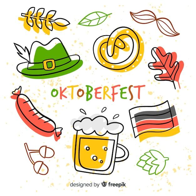 Conceito de oktoberfest com mão desenhada fundo Vetor grátis