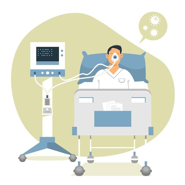 Conceito de paciente crítico de coronavírus Vetor Premium