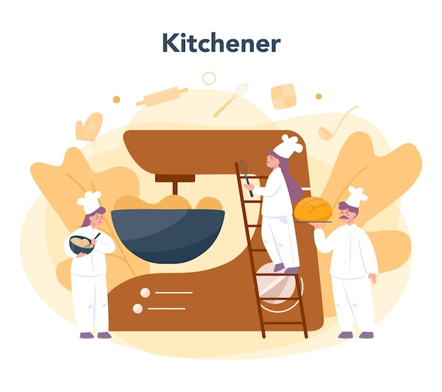 Cartoon a baker with bread stock vector. Illustration of icons - 33242274