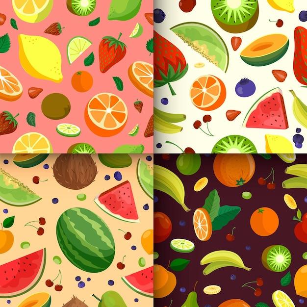 Conceito de padrão de frutas Vetor grátis
