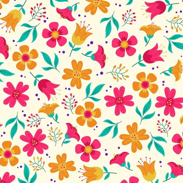 Conceito de padrão floral Vetor grátis