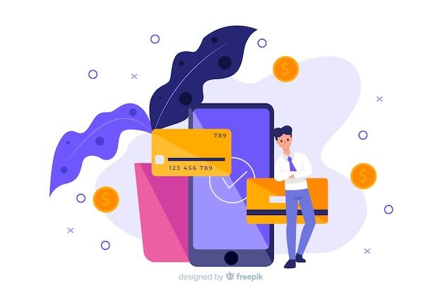 Conceito de pagamento com cartão de crédito para a página de destino Vetor grátis