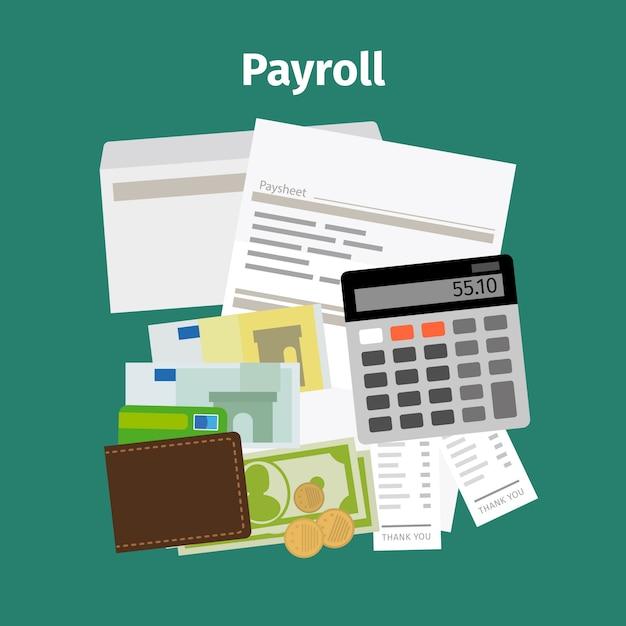 Conceito de pagamento de salário de folha de pagamento Vetor Premium
