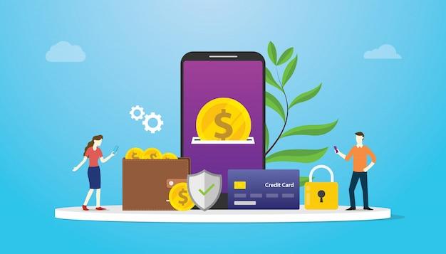 Conceito de pagamento de tecnologia e-wallet com equipe pessoas Vetor Premium