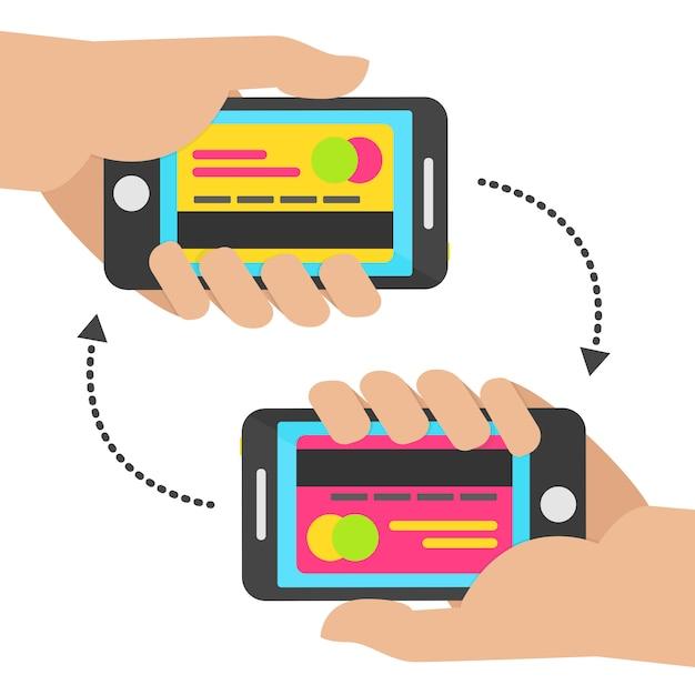 Conceito de pagamento móvel com cartão. transferir conceito móvel. ilustração vetorial Vetor Premium
