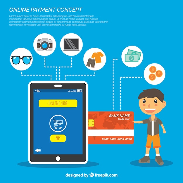 Conceito de pagamento on-line, fundo azul Vetor grátis