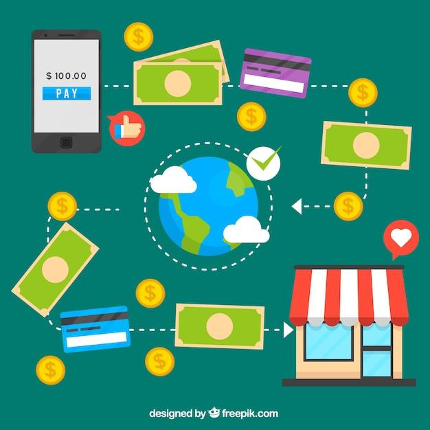 Conceito de pagamento on-line, ícones em um fundo verde Vetor grátis