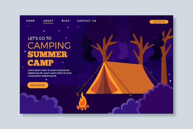 Conceito de página de destino de acampamento Vetor grátis