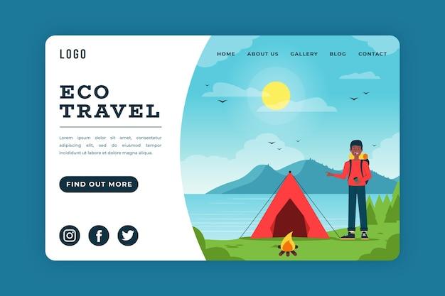 Conceito de página de destino de ecoturismo Vetor grátis