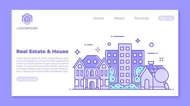 Conceito de página de destino de imóveis e residências Vetor Premium