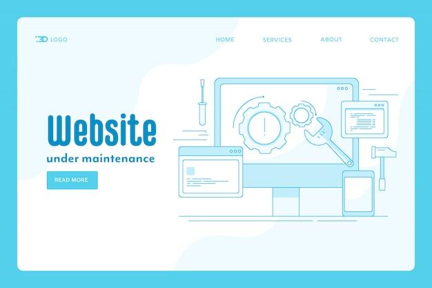 Conceito de página de destino de manutenção de site Vetor Premium