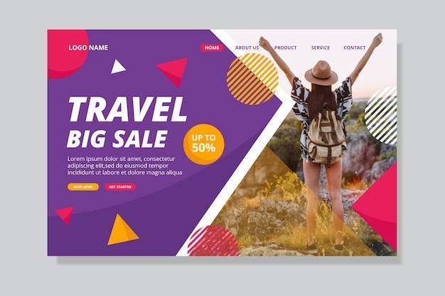 Conceito de página de destino de venda de viagens Vetor grátis