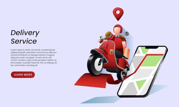Conceito de página de destino do serviço de entrega Vetor Premium