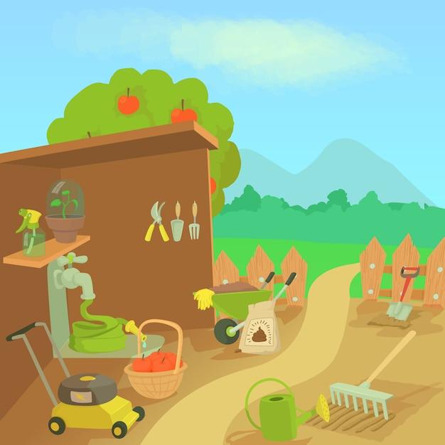 Conceito de paisagem de ferramentas de jardinagem Vetor Premium