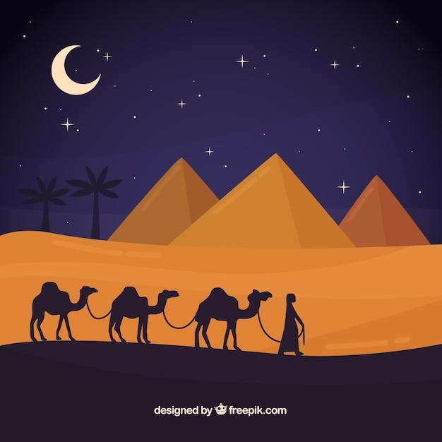 Conceito de paisagem de noite do egito com pirâmides e caravana Vetor grátis