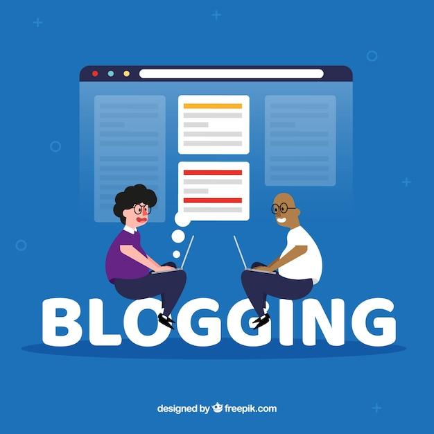 Conceito de palavra blogging Vetor grátis