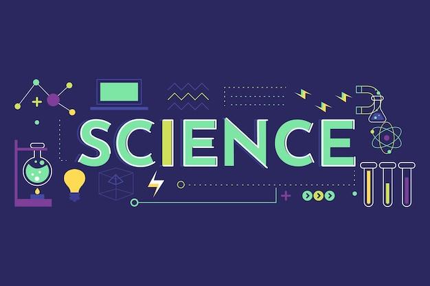 Conceito de palavra ciência com conjunto de elementos Vetor grátis