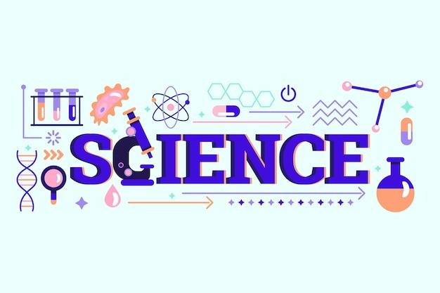 Conceito de palavra ciência com elementos Vetor grátis