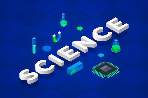 Conceito de palavra ciência em estilo isométrico Vetor grátis