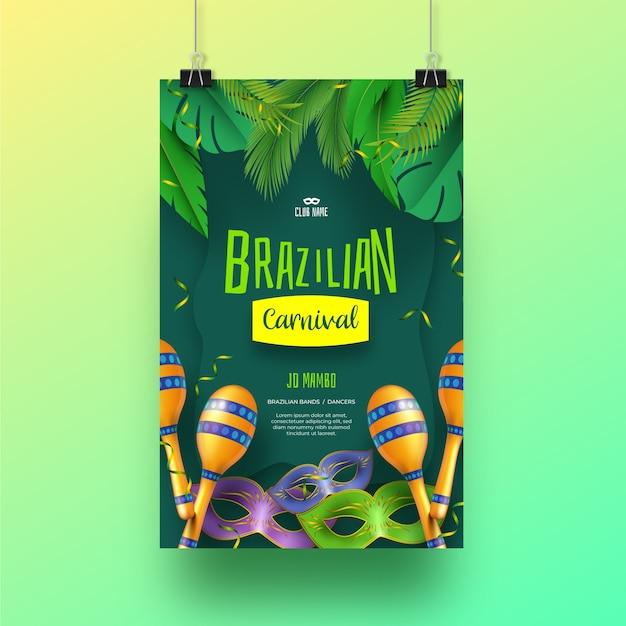Conceito de panfleto de carnaval brasileiro realista para modelo Vetor grátis