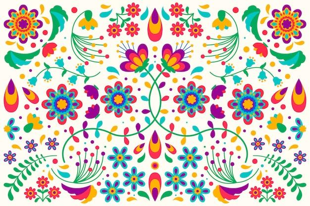 Conceito de papel de parede mexicano colorido design plano Vetor grátis