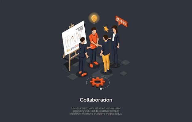Conceito de parceria colaborativa de negócios. executivos discutem novas ideias e distribuem as tarefas juntando-se à colaboração na sala de reuniões do escritório Vetor Premium