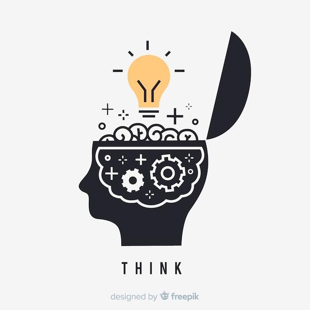 Conceito de pensamento desenhado mão Vetor Premium