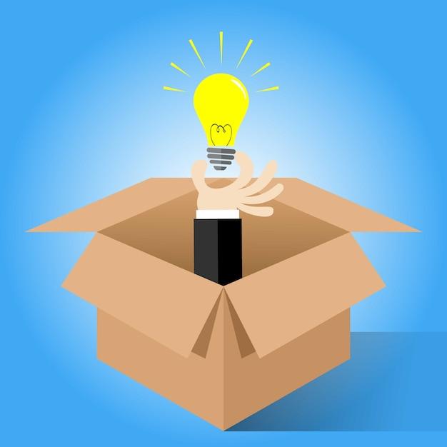 Conceito de pensar fora da caixa para símbolo de ideia criativa | Vetor  Premium