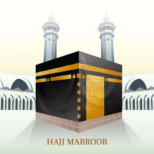 Conceito de peregrinação islâmica realista Vetor grátis