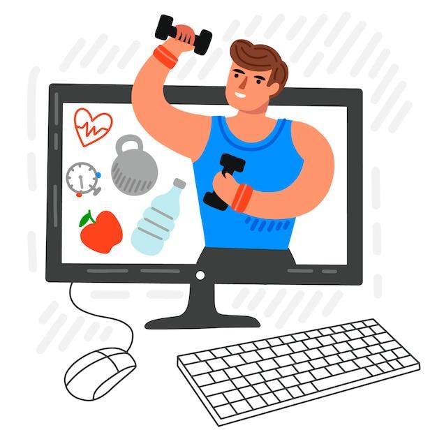 Conceito de personal trainer on-line Vetor grátis