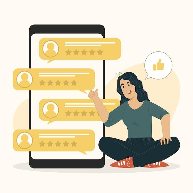 Conceito de pesquisa com clientes, feedback do cliente, avaliação de pessoas com ilustração de estrelas Vetor Premium