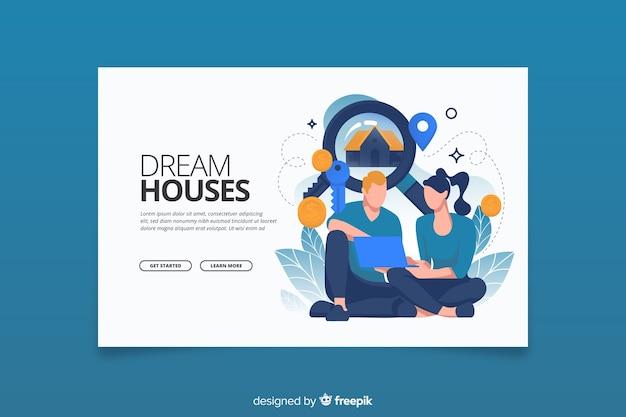 Conceito de pesquisa de casa na página de destino Vetor grátis