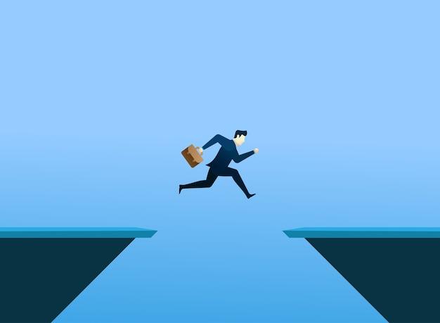 Conceito de pessoas de negócios pular e segurar o saco Vetor Premium