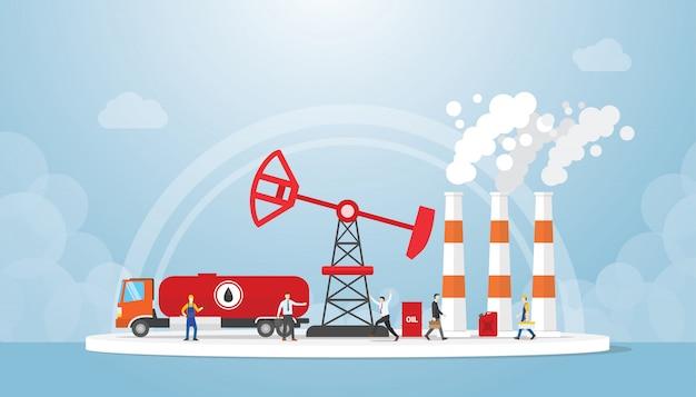 Conceito de petróleo e gás com caminhão-tanque e indústria de refinaria de petróleo com pessoas ao redor Vetor Premium