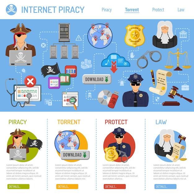 Conceito de pirataria Vetor Premium