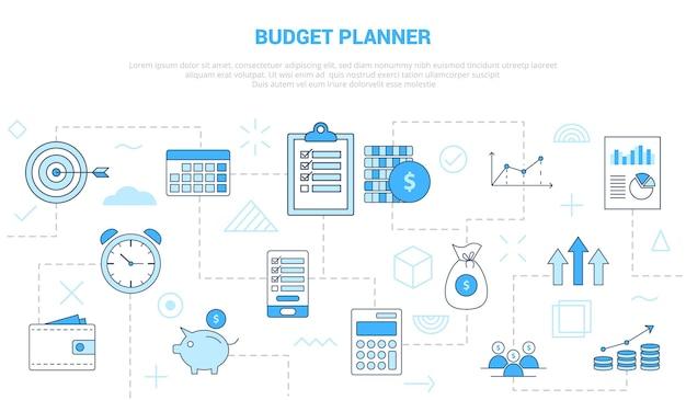 Conceito de planejador de orçamento com conjunto de ícones de banner Vetor Premium